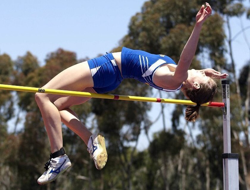 Linda Rainwater high jumps at the Triton Invitational at UCSD last month. She won the competition with a jump of 5 feet, 10 inches.