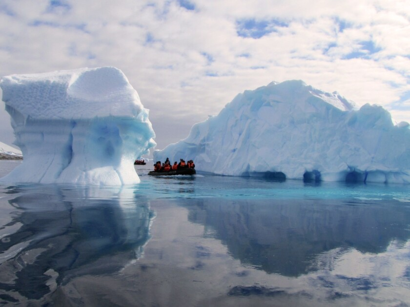 Tourists on a boat on the Antarctic Peninsula.