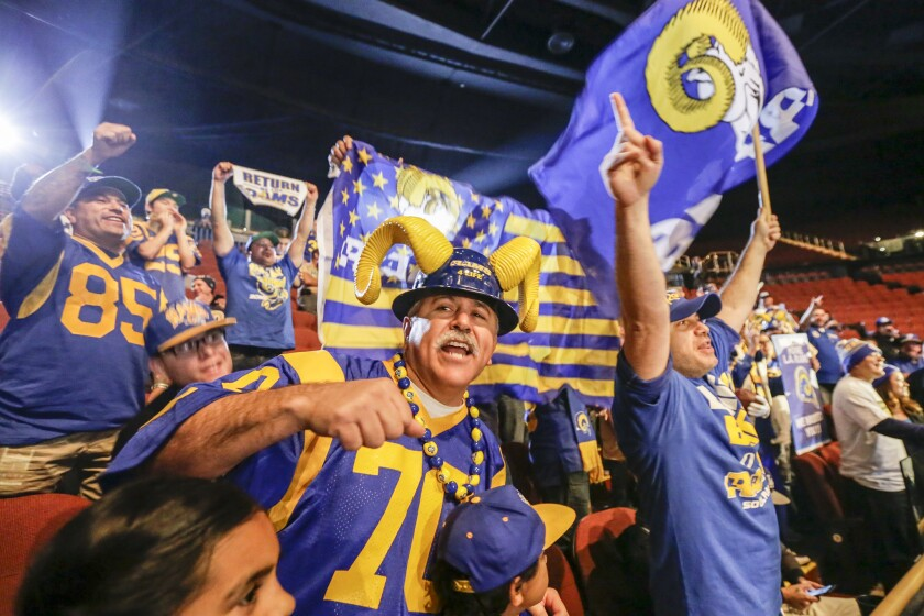 LOS ANGELES, CA JANUARY 15, 2016 -- Rams fans at the press conference held by Inglewood Mayor James Butts, Jr. and Los Angeles Rams owner Stan Kroenke at Forum to celebrate and welcome team to Los Angeles. (Irfan Khan / Los Angeles Times)