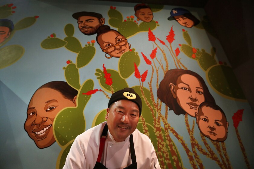 LAS VEGAS, NEVADA-DECEMBER 19, 2018: Chef Roy Choi is photographed next to a mural located inside