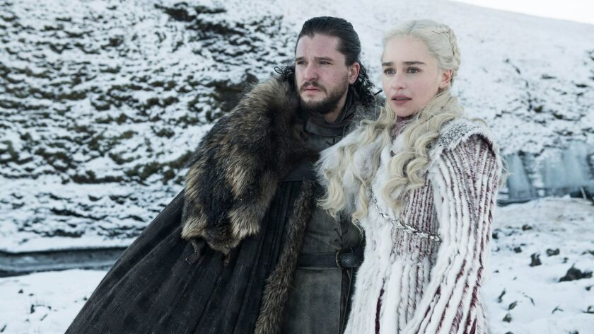 This photo released by HBO shows Kit Harington as Jon Snow, left, and Emilia Clarke as Daenerys Targ