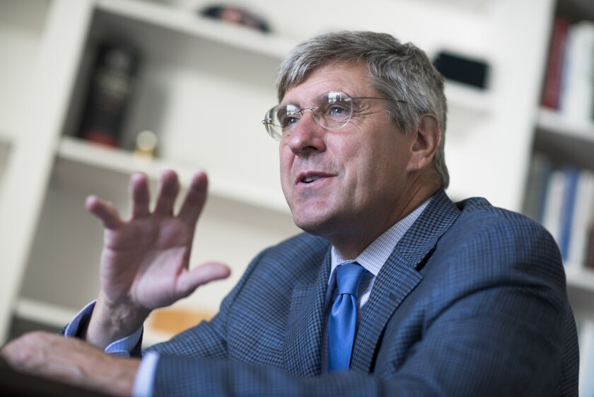 UNITED STATES - AUGUST 31: Stephen Moore of The Heritage Foundation is interviewed by CQ in his Wash