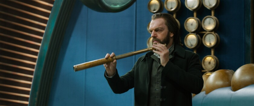 """Hugo Weaving as Thaddeus Valentine in """"Mortal Engines."""" The film is directed by Christian Rivers, an"""