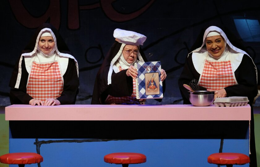 "Sarah Errington, Sue Boland and Brenda Oen (left to right) in Moonlight Stage Productions' ""Nunsense."""