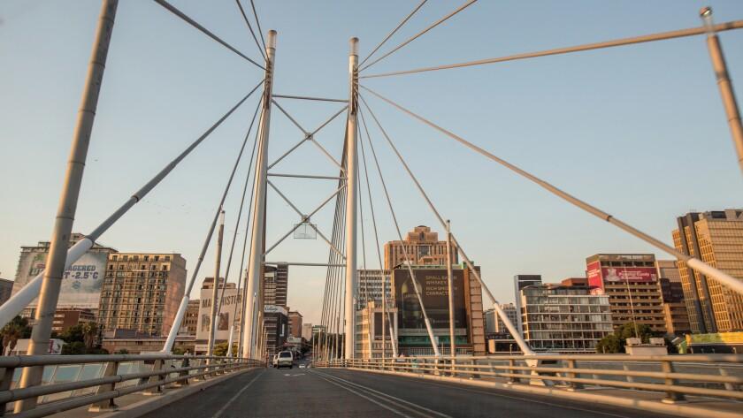 Wide shot of the Nelson Mandela Bridge from a car window, Johannesburg, Gauteng, South Africa