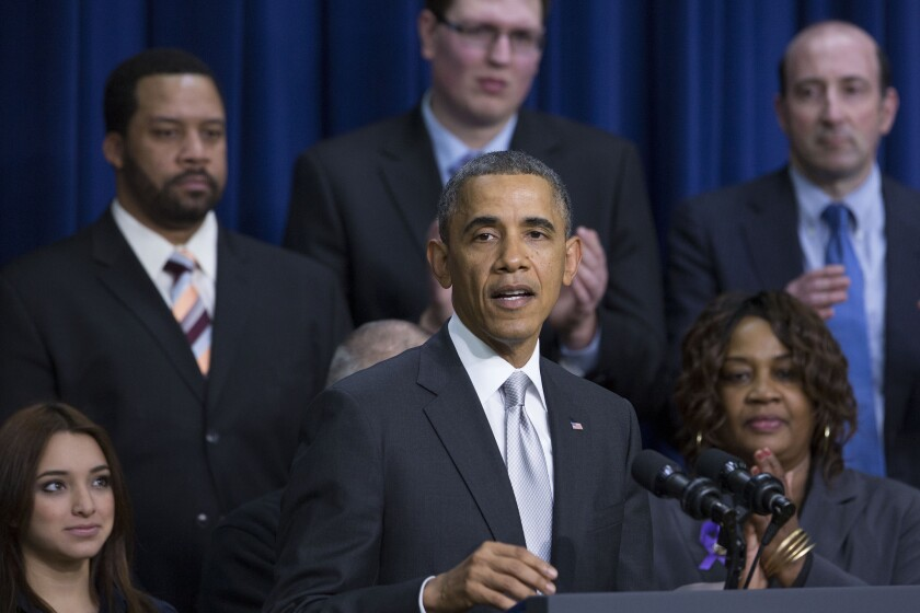 U.S. President Barack Obama speaks in the South Court Auditorium of the Eisenhower Executive Building next to the White House in Washington, D.C., U.S.