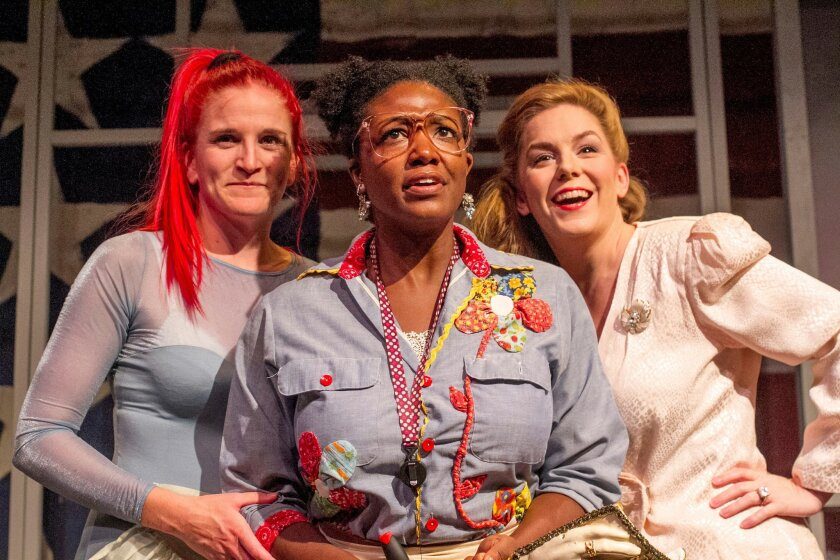"""Samantha Ginn (from left), Melissa Coleman-Reed and Kristin Woodburn in New Village Arts' production of """"The Miss Firecracker Contest."""" PHOTO BY DAREN SCOTT"""