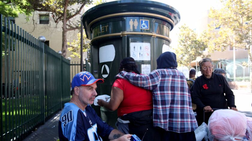 L.A. Councilman Mike Bonin asked the city to install more portable toilets on skid row, where only nine toilets are available overnight for 2,000 homeless people.