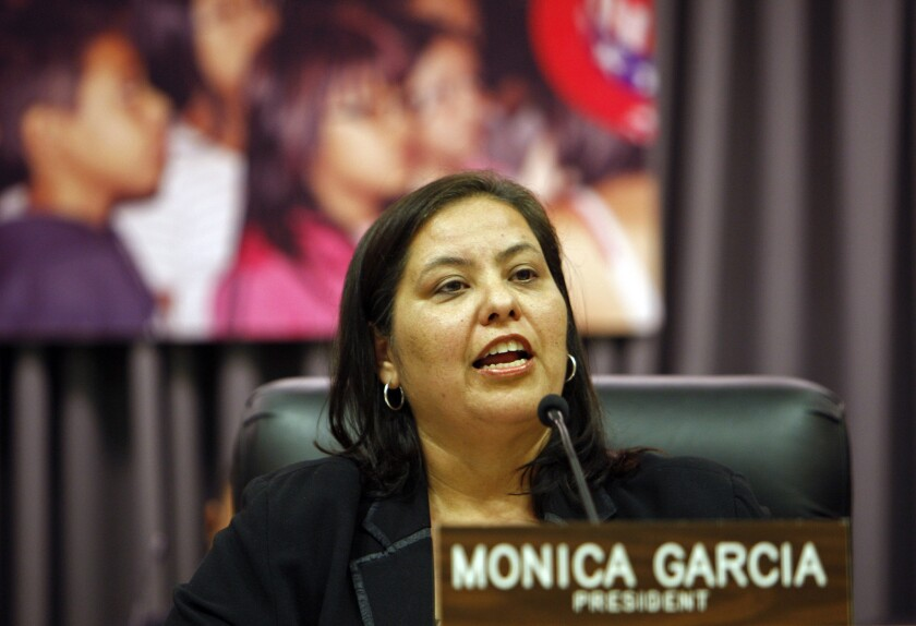"""Monica Garcia, the president of the Los Angeles Unified school board, wants to put a stop to suspending students for the relatively minor infraction of """"willful defiance."""""""