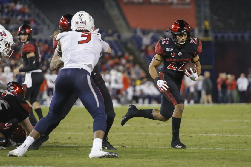 SDSU running back Chase Jasmin rushes for a first quarter touchdown against Fresno St.