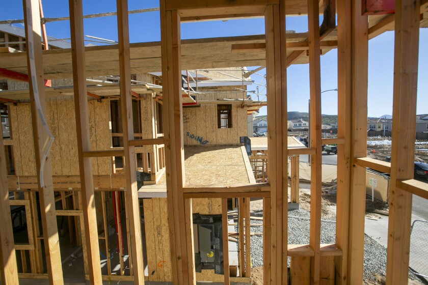 A view through the framework of a new single family home.