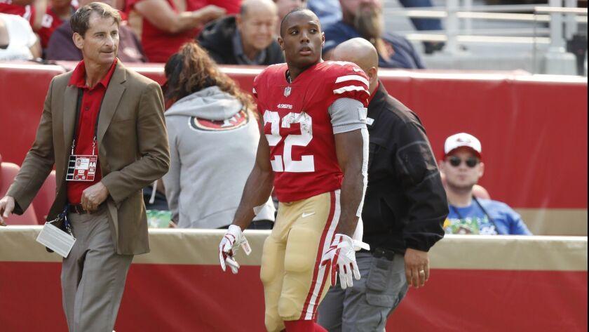 San Francisco 49ers running back Matt Breida walks off the field after being in injured against the Arizona Cardinals.