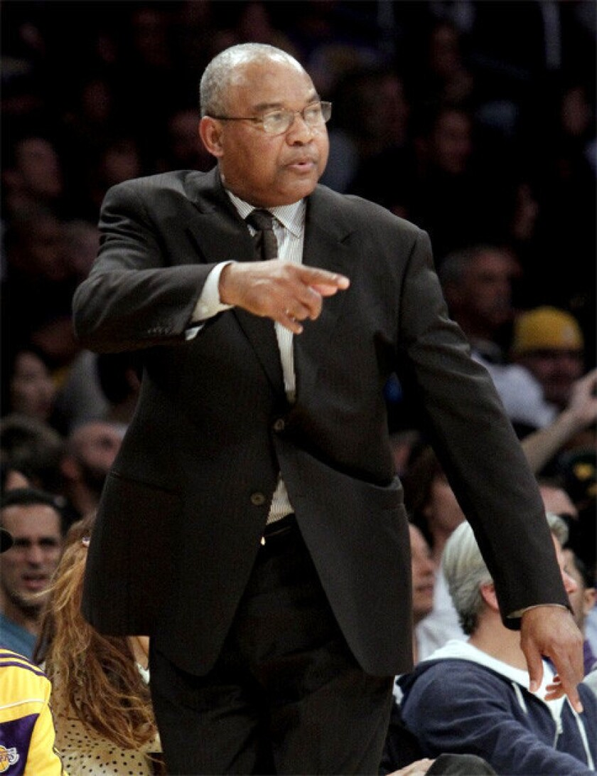 Bernie Bickerstaff directs the Lakers during his second game as interim head coach.