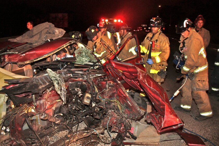 Emergency crews respond to the site of a single vehicle accident on state Route 94 in Golden Hill on Friday night that killed the car's passenger. CHP officers arrested the driver of the car on suspicion of gross vehicular manslaughter and driving under the influence. photo by keven smith