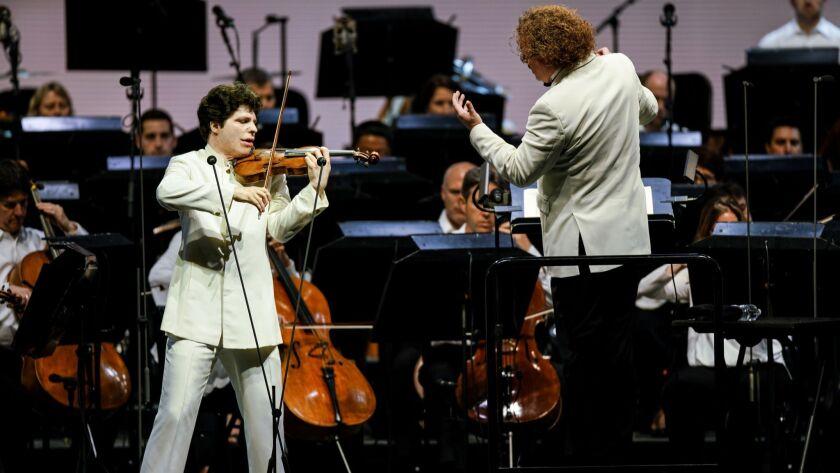 LOS ANGLELES, CALIF. - JULY 24: Augustin Hadelich performs the Sibelius Violin Concerto in D minor,