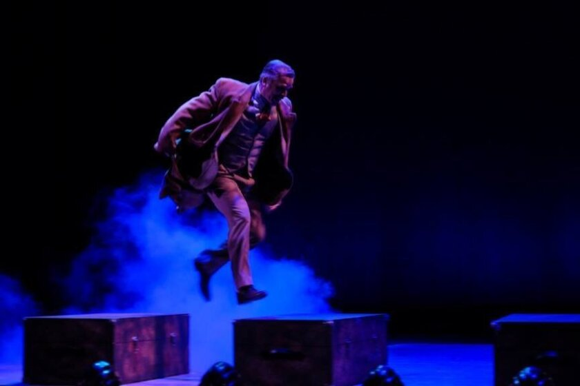 """Robert Townsend in a scene from Premiere Productions' """"The 39 Steps"""" at the Welk Resort Theatre San Diego in Escondido."""