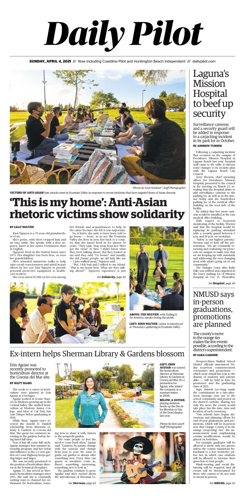 Front page of Daily Pilot e-newspaper for Sunday, April 4, 2021.