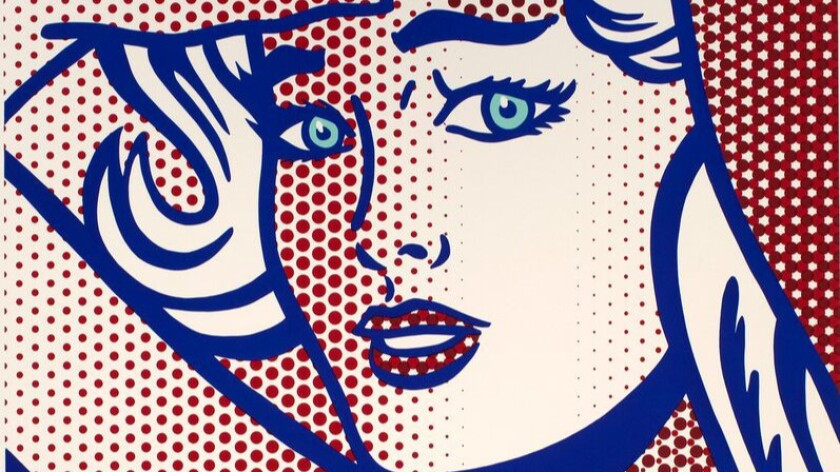 """A detail from Roy Lichtenstein's """"Nude With Blue Hair, State I,"""" from the Nudes Series, 1994."""