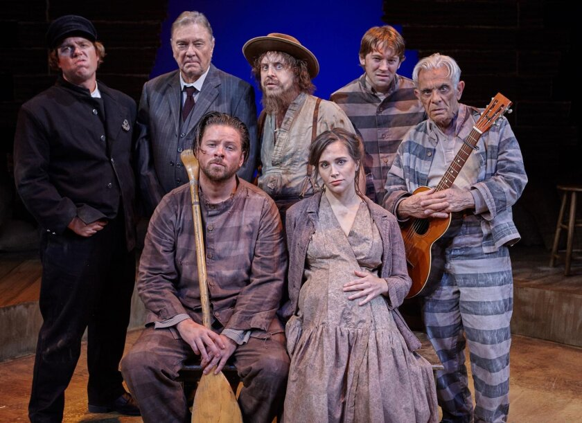 Back row: Max Macke (deputy, scruffy man, doctor), John Herzog (warden, man, captain), Geno Carr (cotton farmer, lame man, Cajun, Mr. Allen) and Benjamin Cole (Tommy). Front row: Richard Baird (Aikins), Sara Fetgatter (Ellie) and Robert Grossman (Ike), star in Edward Morgan's adaptation of William
