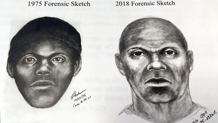 "A pair of sketches shows what a serial killer dubbed the ""Doodler"" might look like."