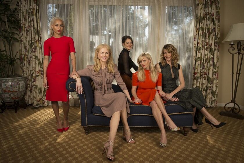 """Cast of the upcoming HBO series """"Big Little Lies,"""" from left: Zoë Kravitz, Nicole Kidman, Shailene Woodley, Reese Witherspoon and Laura Dern."""