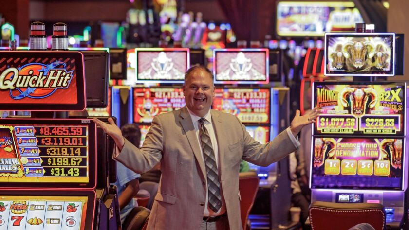 Loren Gill, general manager of San Manuel Casino, stands among more than 900 new slot machines that are part of an expansion that represents a shift for the casino away from bingo.
