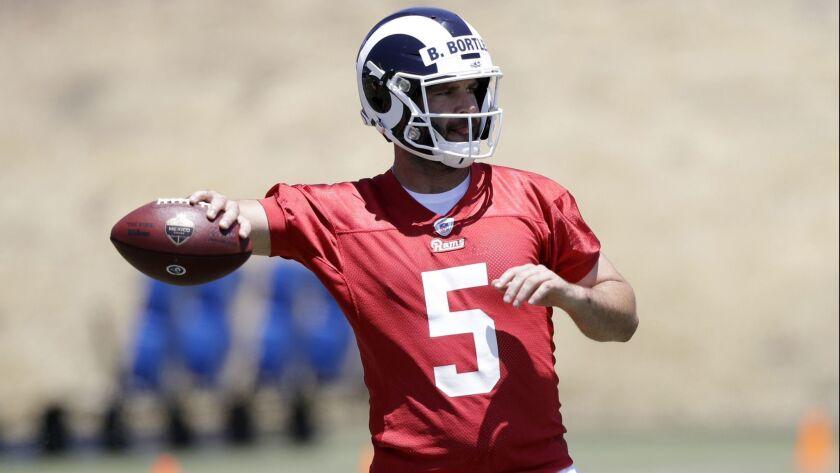 Los Angeles Rams quarterback Blake Bortles during an NFL football training camp Tuesday, May 28, 201