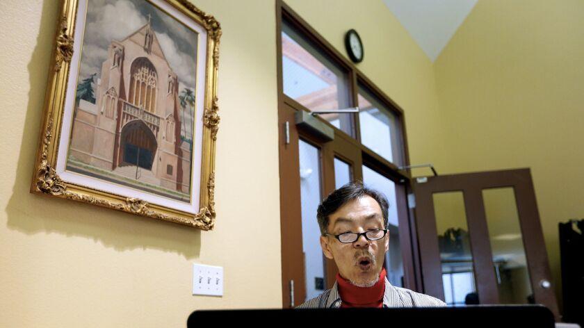 Seon Jin Kim participates in choir practice at St. James Episcopal Church in Los Angeles.