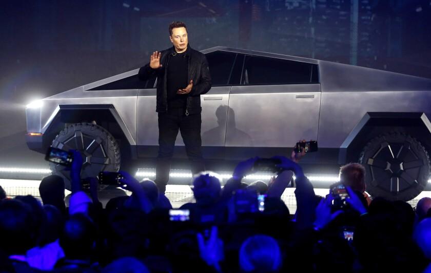 Elon Musk introduces the Cybertruck at Tesla's design studio in Hawthorne last November.
