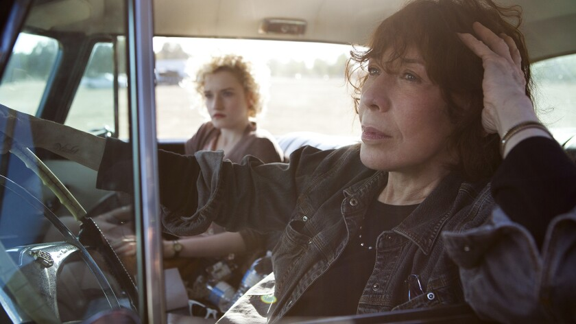 Julia Garner as Sage, seeking an abortion, sparks a road trip into the past and present with Lily Tomlin as her grandmother, Elle.