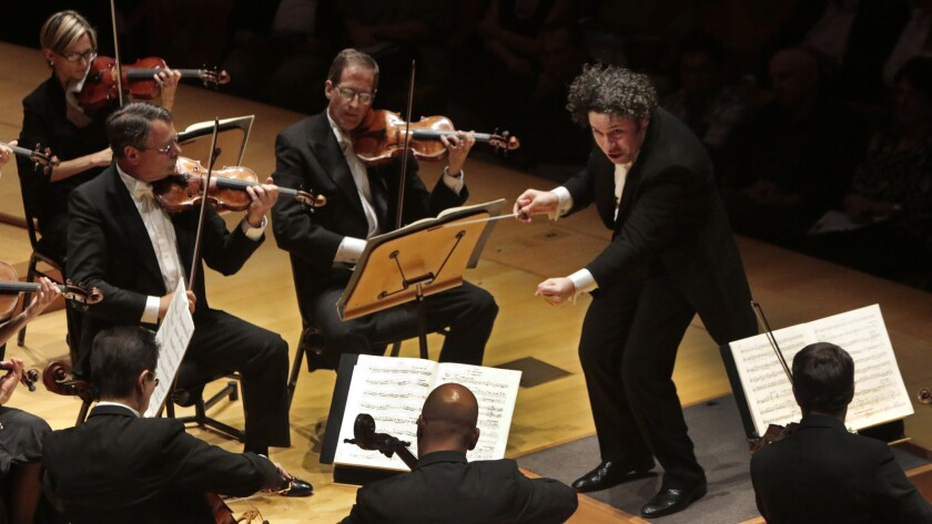 Gustavo Dudamel conducts the Los Angeles Philharmonic at the start of a new season at at Walt Disney Concert Hall.