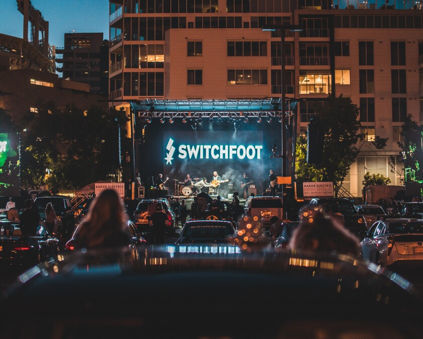 "Sunday's rousing ""Feed the Need"" sold-out drive-in concert by Switchfoot took place in one of Petco Park's parking lots."