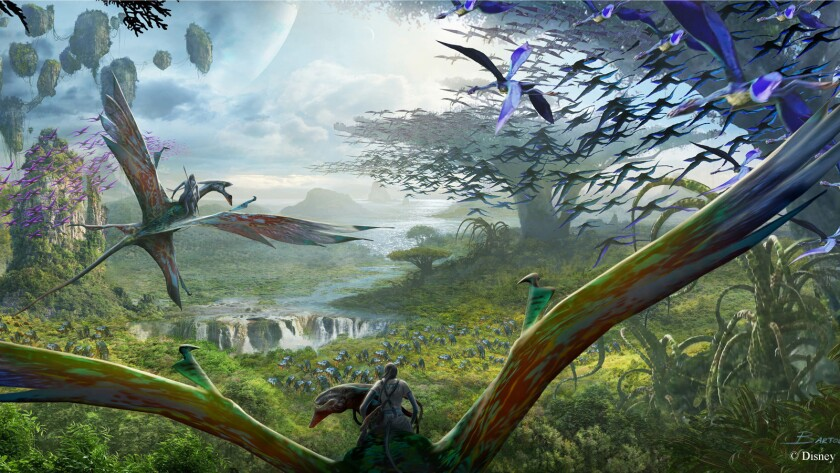 The alien land's marquee attraction will be an E-Ticket banshee flight simulator similar to Soarin' at Epcot and Soarin' Over California at Disney California Adventure.