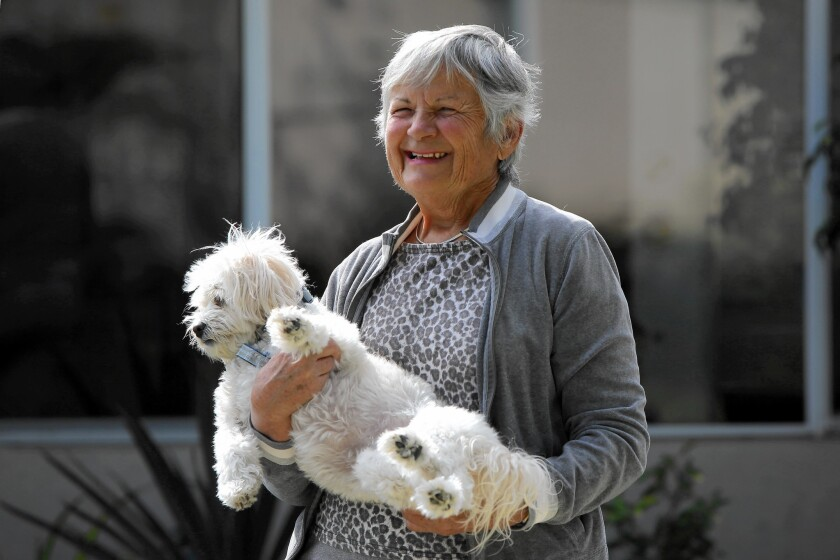 Jovanka Radivojevic, 78, with her 5-year-old dog Sugar, which survived a recent coyote attack in Leisure World.