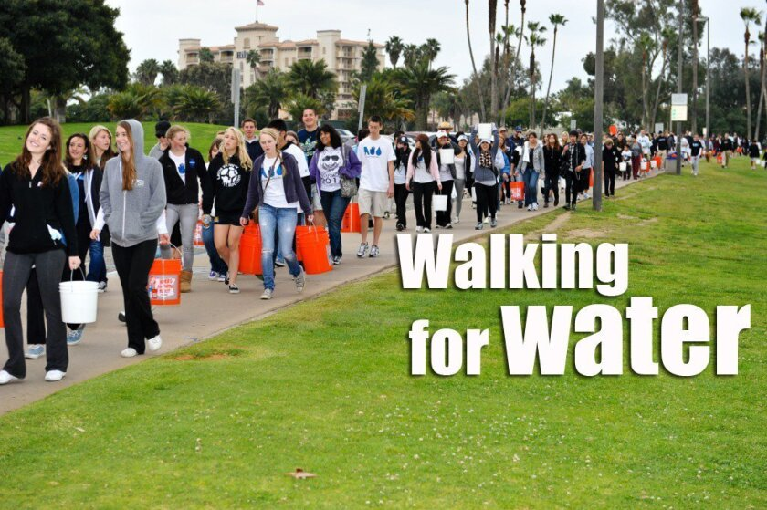 Above, below: Matthew Gehring participates in San Diego Walk for Water, the premise behind his upcoming Del Mar TV documentary. Photos by Shane Stiles Photography