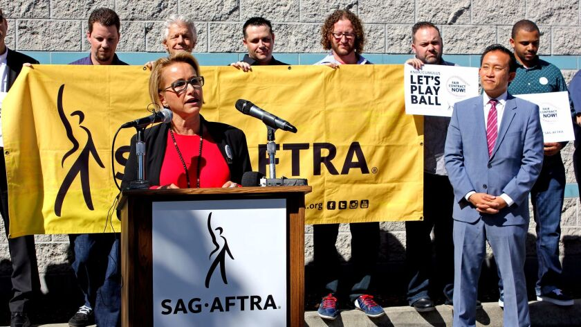 Gabrielle Carteris, president of SAG-AFTRA, speaks during a fair wage rally for KNBR employees in Sa