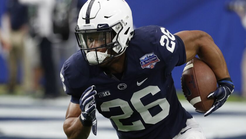 Penn State running back Saquon Barkley (26) against Washington during the Fiesta Bowl, Saturday, Dec. 30, 2017, in Glendale, Ariz.