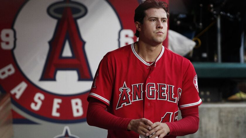 Angels starting pitcher Tyler Skaggs posted a record of 8-10 and an ERA of 4.02 in 24 starts last season.