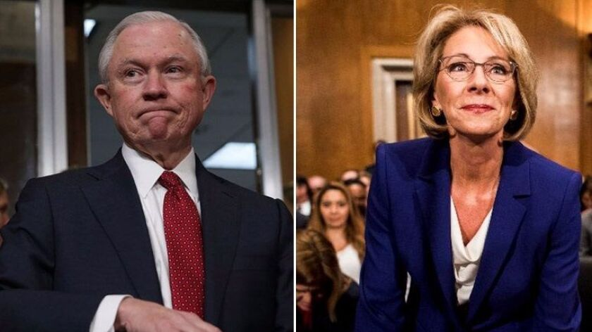 Donald Trump's nominees for attorney general (Jeff Sessions) and education secretary (Betsy DeVos).