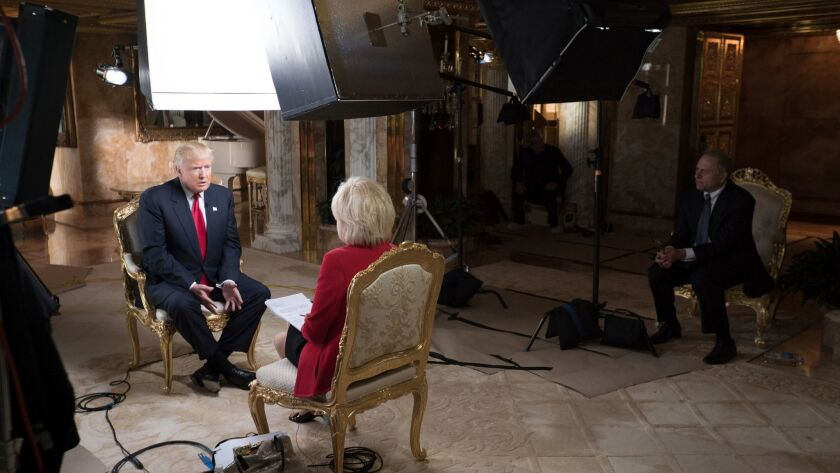 """""""60 Minutes"""" correspondent Lesley Stahl interviews President-elect Donald J. Trump at his home in New York. The interview was aired Sunday."""