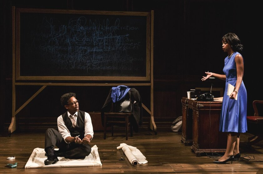 Playwright Michael Benjamin Washington as Bayard Rustin and Mandi Masden as Miriam Caldwell in 'Blueprints To Freedom: an Ode To Bayard Rustin,' at La Jolla Playhouse through Oct. 4.