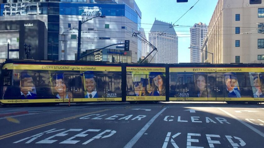 San Diego-based Altus charter schools operate resource centers, or satellite campuses, throughout San Diego County. The schools recently advertised on a downtown trolley.