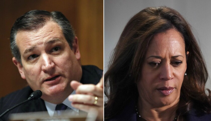On Tuesday, Nov. 28, 2017, Sen. Kamala Harris, D-San Francisco, wore a Houston Astros hat at the office of Sen. Ted Cruz, R-Texas, in Washington, D.C., to make good on a bet she made with the Texas senator during the World Series between the Astros and the Los Angeles Dodgers.