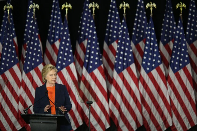 Democratic presidential candidate Hillary Clinton speaks in San Diego on Thursday.