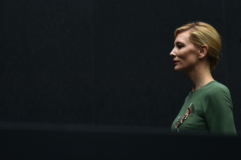 """Cate Blanchett discusses her past romantic history with women while promoting her same-sex romantic drama, """"Carol."""""""