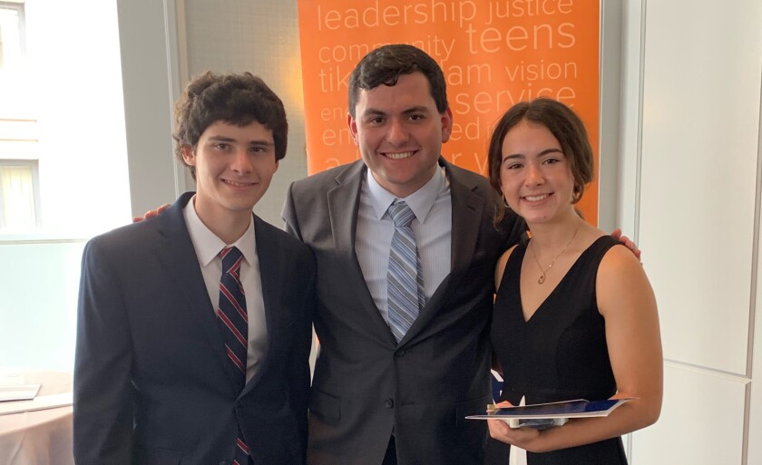 Ethan Hirschberg, 18, of Carlsbad, left; Beatriz De Oliveira, 17, of Carmel Valley; and John Finkelman, 18, of Carmel Valley have each received the 2019 Diller Teen Tikkun Olam Award, which honors 15 American Jewish teens with a $36,000 prize for their charitable efforts to repair the world.