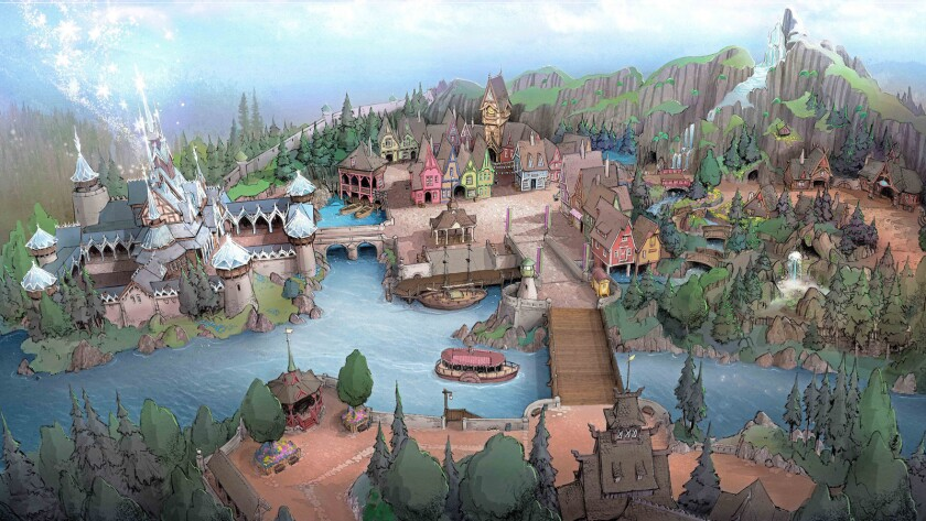 "Concept art of the ""Frozen""-themed Arendelle coming to Tokyo DisneySea in Japan."