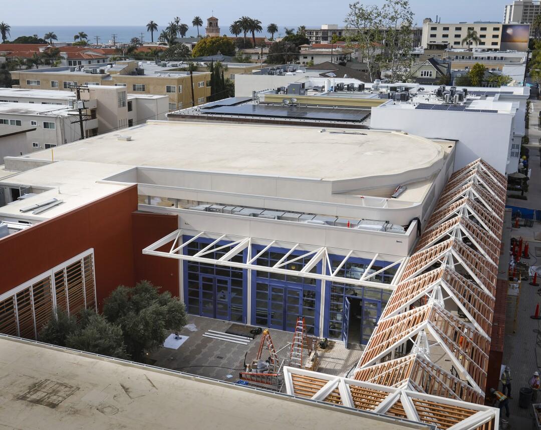 Overview outside the Conrad Prebys Performing Arts Center on Fay Avenue in La Jolla.