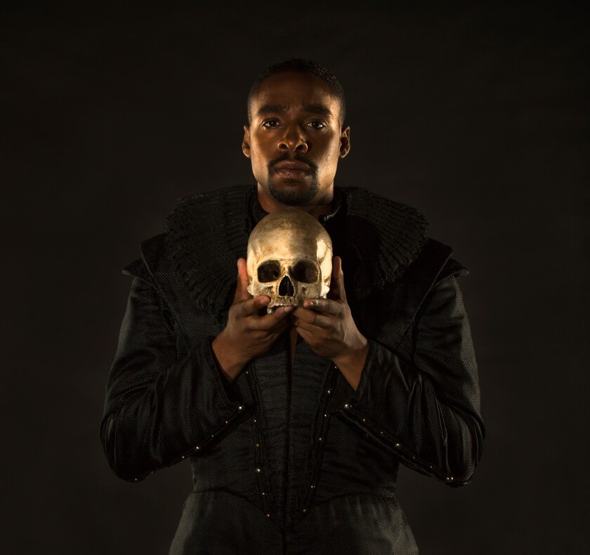 "Grantham Coleman in the tole role of ""Hamlet"" at The Old Globe in 2017."