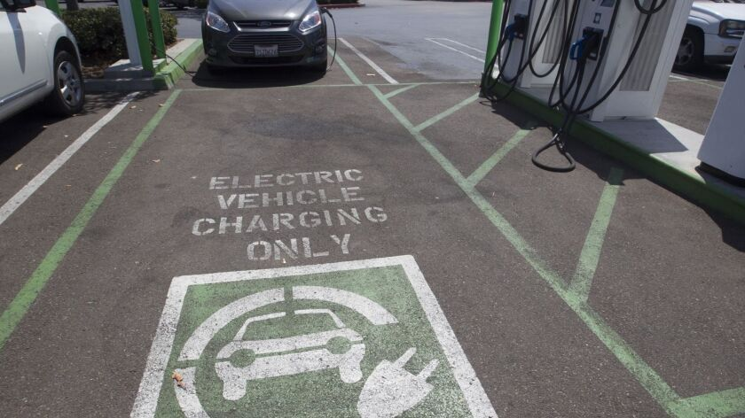 An EV charging stations at the Fenton Market Place in Mission Valley.